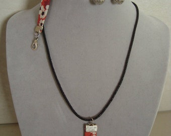 Red liberty pendant with silver ball necklace