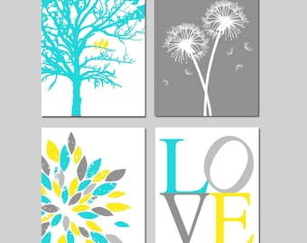 Yellow Aqua Gray Baby Nursery Art Quad - Birds in a Tree, Love, Abstract Floral, Dandelions - Set of 4 Prints - CHOOSE YOUR COLORS