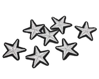 Patch Thermo star embroidered in silver