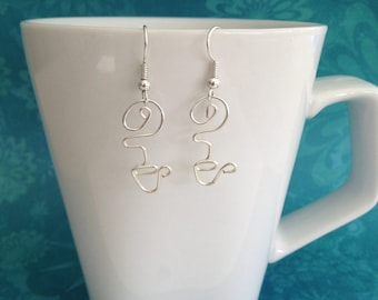 Coffee Addict, or Tea Lover, Mug/Cup with Steam, Wire Dangle Earrings in Silver or Gold Color