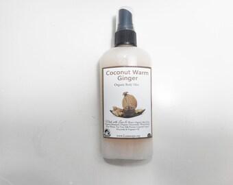 Coconut & Warm Ginger Organic Body Mist - Organic Body Mist, Perfume Strength Body Splash and Shimmering Body Spray - 4.7 oz Spray