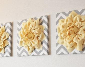 "Wall Art -SET OF THREE Light Yellow Dahlia on Gray and White Chevron 12 x12"" Canvas Wall Art- 3D Felt Flower"