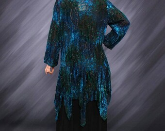 Teal Turquoise&Blues Stevie Nicks Style Bohemian Gypsy Velvet Kimono Duster