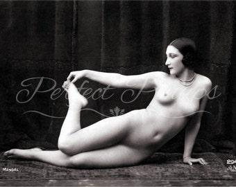 Antique Pin Up - Nude Woman, Risque French Home Decor, Vintage Nude Photograph, Postcard, Photography, Pinup, Burlesque, Paris - Reprint 291