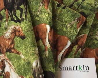 Green and Brown Horse All Cotton Dinner Cloth Napkin 18x18 in Size by Smartkin