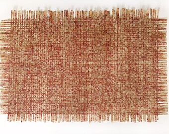 Red Beige Paper Weaving- 20x29- Abstract Art- Woven, Textured- Sand, Chili Red, Orange-  Horizontal or Vertical