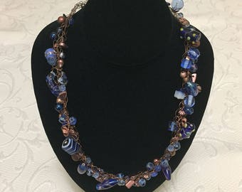 Blue & Copper Wire Crochet Necklace Set / Jewelry / Crochet / Women's Gift Ideas / Lampwork Beads / Blue Necklace / Wire Crochet / Copper