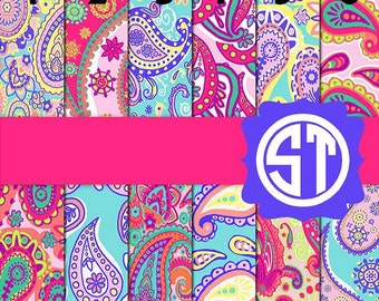 Bright Paisley printed indoor, outdoor, glitter, and metallic decal VINYL or heat transfer vinyl HTV or applique FABRIC