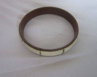 Antique Inlaid Brass Bangle Bracelet