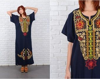 Vintage 70s Black Embroidered Dress Ethnic Floral Tribal Maxi Medium L 9572