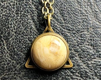 Tiny Triangle Fossilized Brain Coral Rock Formation Natural Carved Cabochon Cameo Bronze Tan Crystal Boho Organic Necklace