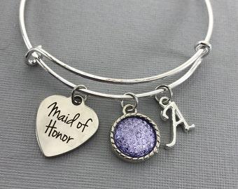 Maid of Honor Gift - Maid of Honor Proposal -  Purple Wedding Jewelry - Wedding -Maid of Honor bracelet - Maid of Honor Jewelry