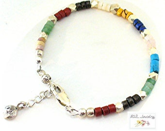 Chakra Bracelets Feminine Gemstone Bracelet, Hill Tribe Silver Nuggets Heishi Bracelets - B2016-17