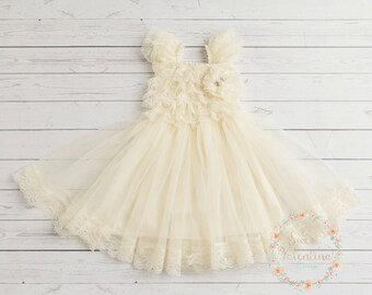 Flower Girl dress,baptism dress, Ivory lace dress, baby girl dress, Baby dress, Christening dress, junior bridesmaid, rustic wedding dress.