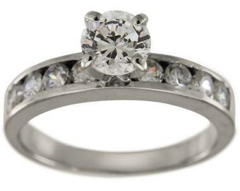 Diamond 1/2 Carat Engagement Ring With Channel Set Diamond Accents In 14k White Gold Ring