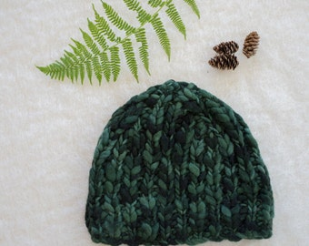 Green and Black Chunky Wool Hat