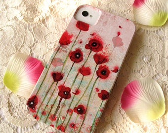 Coque illustrée smartphone - iPhone - Samsung Galaxy - Huawei - Poppies