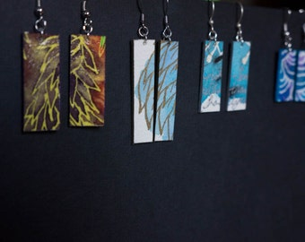 Watercolor earrings, hand-painted, abstract designs