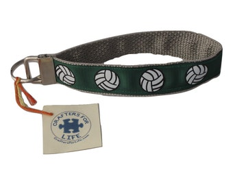 Green Volleyball Key Chain / Keyfob with Silver Backing and a sturdy 12 inch wrist loop - made by Adults with Special Needs