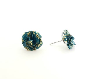 Pink Blue origami duck studs earrings