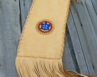 Fringed pipe bag ,  Beaded turtle totem , Leather Pipe bag ,  Beaded pipe bag
