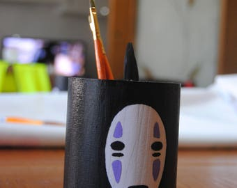 No face-facial-spirited Away-The Enchanted City-Chihiro-Studio Ghibli-pen holder in hand coloured wood