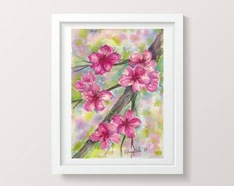 Cherry Blossom Print Flowers Digital Download Art Floral Print Watercolor Printable Artwork Living Room Art Wall Decor Instant Download Art