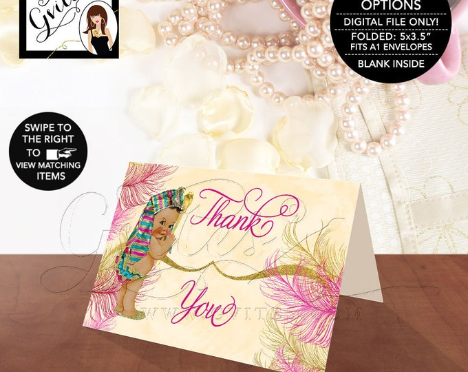 """Baby Shower Thank You Cards Personalized Label Egyptian Baby Shower Printable, Pharaoh Party Digital File, Pink Gold,  {5x3.5"""" 4 Per/Sheet}"""