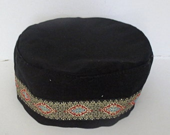 Bucharian black kippah with elegant gold red blue  jacquard trim  select your size great gift elgant tapestry trim Buchari kippah
