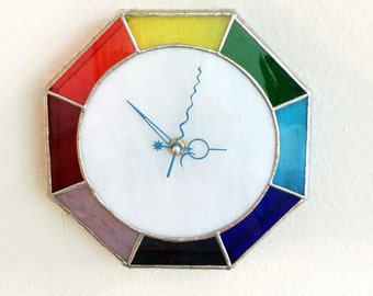 Wall clock, stained glass clock, unique wall clock, Custom Clock, home decor, Kids room decor, Boho Clock, Boho Decor, Rainbow decor, clocks