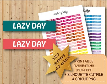 """Printable """"Lazy Day"""" planner stickers, Functional stickers, Instant download , Erin Condren, Silhouette, CUT File, STR052"""