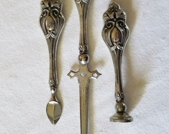 Sterling Silver Desk Set, Letter Opener, Wax Seal, Wax or Ink Scraper  Victorian Era