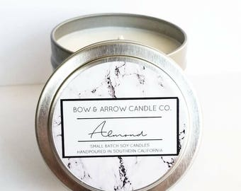 4 oz Natural Soy Candle Almond Scented | 4 oz Tin Candle | Almond Scent Candle | Almond Soy Candle | Almond Oil Candle | Scented Soy Candle