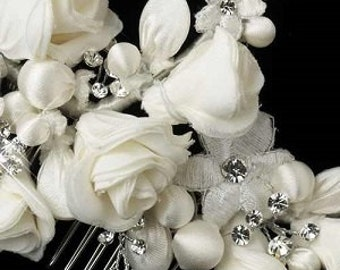 Ivory Flower Rhinestone Bridal Hair Comb