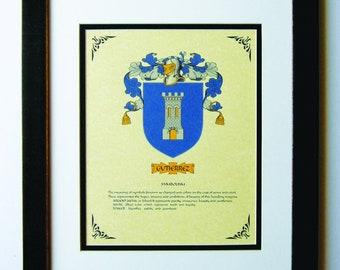 HERALDY COAT of ARMS ~ Gutierrez Family Crest ~ Framed