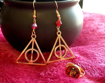 Deathly Hallows earring and ring set-Gryffindor-