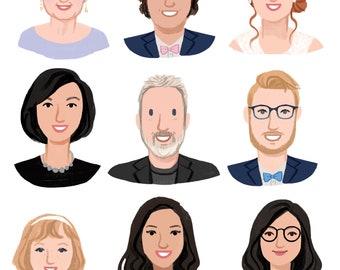 Custom Illustration Personal Portrait Avatar for User Profiles, Social Media Icons (Digital File)