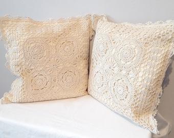 Unique Decorative Pillows Linen ! Natural pillow Beige ! Lace Decorating | Size 40 x 40 cm / 16'' x 16''