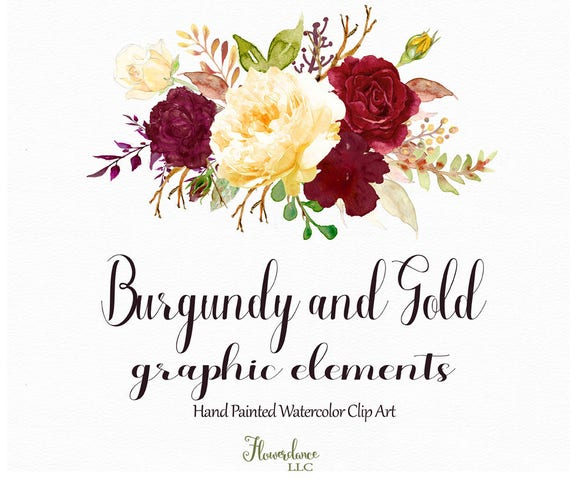 Burgundy And Gold Watercolor Clipart Burgundy Flower