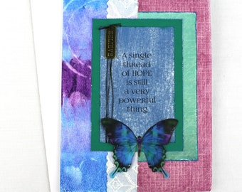 Encouragement card, Butterfly card, handmade greeting card, card of hope, sympathy card, card for illness, card for her