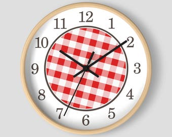 Red Gingham Wall Clock - Pattern in Red and White with Wood Frame - 10-inch Round Clock - Made to Order