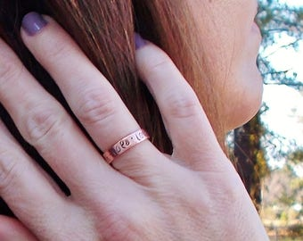 Customized Personalized Hand Stamped Skinny Copper Cuff Adjustable Ring Faith Hope Love or YOUR choice of word(s) Simple Band Ring