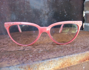Red CatEye Glasses with metal rinestone studs brow design. 1960s Elysee French vintage retro eyeware. Fun costume prop, hen, halloween party