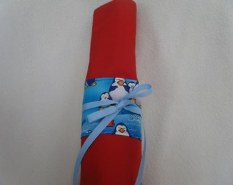 Large Knitting Needle Case Made in Red and Blue Print Penquin Fabric - HANDMADE BY ME