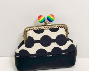 Rainbow Ball Kisslock Coin Purse in Black and Cream