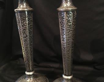 "Early 1900s Jos Heinrichs Arts & Crafts Candlesticks 11""H Hammered Nickel Silver"