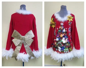 2 Turtle Doves, a Pear, a partridge & Squirrel in Christmas Tree Tacky Ugly Christmas Sweater Mini Dress Light UP Feathers Oversized Large