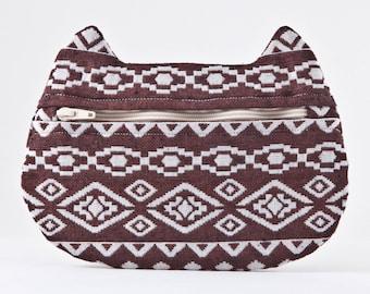 Tribal Cat Bag, Brown Cosmetic Bag, Cat Pencil Case, Tribal zipper pouch, Bridesmaid Gift native american Makeup Bag Toiletries Bag