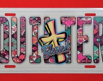 Aluminium License Plate - Blessed Quilter