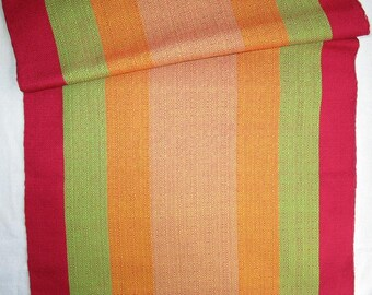 Handwoven Yardage, Red Green Gold Stripes